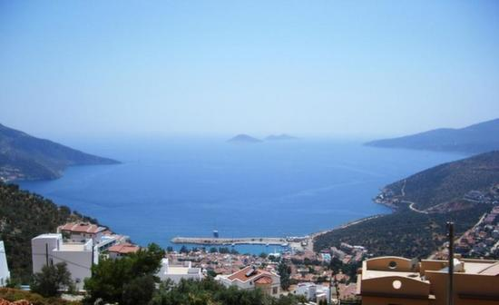 Stunning view of Kalkan bay from elevated hilltop position with Kalkan town below
