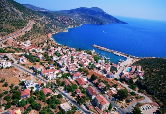 Aerial view of Kalkan and Turquoise Coastline
